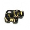 Glass Bead Elephant 11mm Black/Gold - Strung